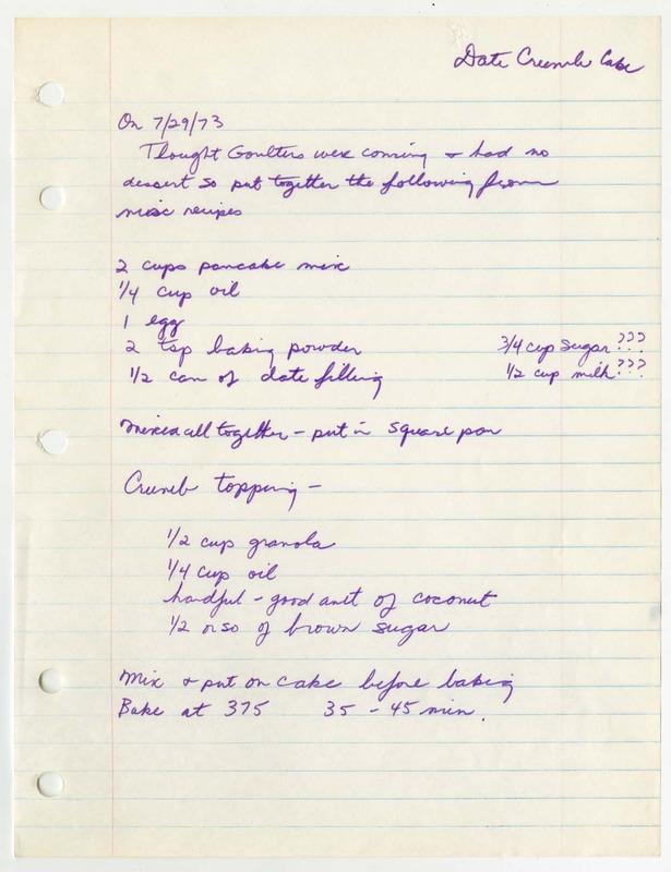 Elinor Ostrom Date Crumb Cake Recipe